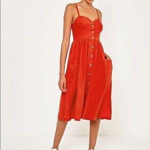 Urban outfitters button midi red Emilia dress